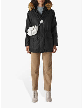 Whistles Willow Waxy Parka, Black by Whistles