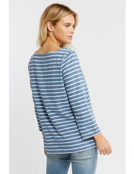 Fat Face Blue Organic Cotton Blend Fleur Breton T Shirt by Next