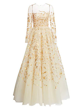 Goldtone Embroidered Illusion Tulle Gown by Oscar De La Renta