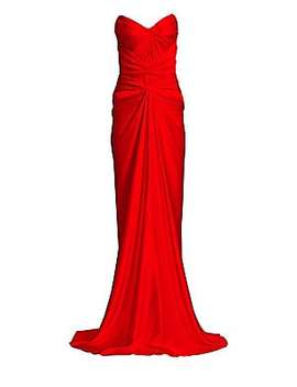 Strapless Gathered Sheath Gown by Zac Posen