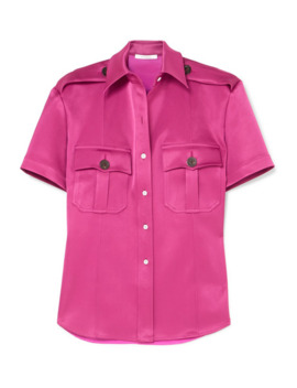 College Safari Belted Paneled Satin And Charmeuse Shirt by Peter Do