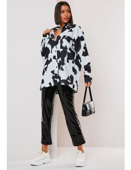 White Cow Print Oversized Shirt by Missguided