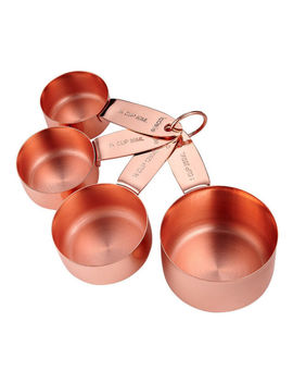 Ladelle Lawson Set Of 4 Measuring Cups   Silver/Copper/Gold by Ebay Seller