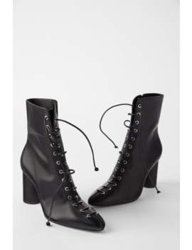 Laced Leather Heeled Ankle Boots  Booties Shoes Woman Shoes &Amp; Bags by Zara