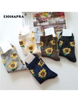 [Eioisapra]Korean Style Women Sunflower Short Socks Creative Art Harajuku Japanese Socks High Quality Cotton Tide Sox by Ali Express.Com