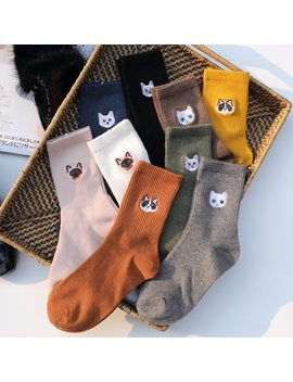 Cartoon Animal Big Head Embroidery Cotton Women Socks High End Quality Soft Crew Socks Autumn Winter Fashion Kitty Cat Socks by Ali Express.Com