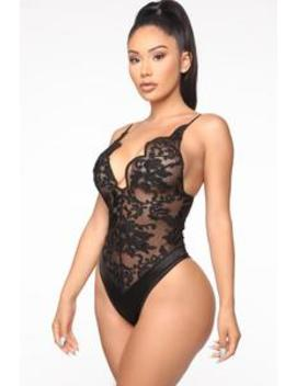 Watch Out For Me Mesh Teddy   Black by Fashion Nova