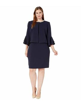 Plus Size Ruffle Sleeve Open Jacket Dress Set by Tahari By Asl