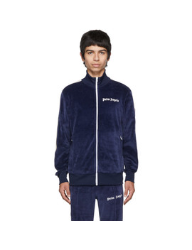 Blue Chenille Track Jacket by Palm Angels