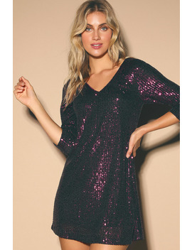 All Nighter Plum Purple Sequin Shift Dress by Lulus