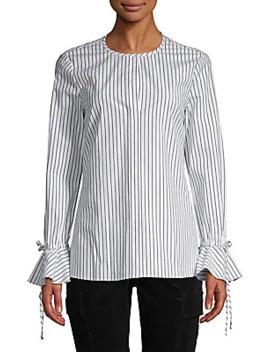 Striped Cotton Blend Top by Derek Lam 10 Crosby