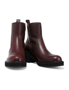 Shearling Lined Leather Ankle Boots by Jil Sander Navy