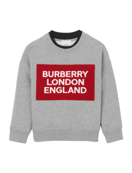 Boy's Logo Patch Sweatshirt, Size 3 14 by Burberry