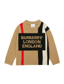 Boy's Rolfe Icon Stripe Logo Sweater, Size 3 14 by Burberry