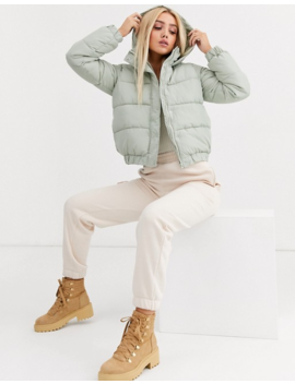 Missguided Padded Jacket In Sage Green by Missguided's