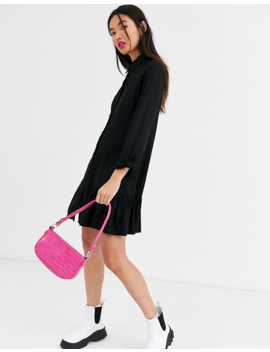 Monki Mini Shirt Dress With Long Sleeve In Black by Monki