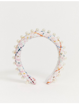 Asos Design Padded Headband In Pink Boucle With Pearl Embellishment by Asos Design
