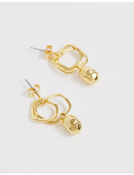 Whistles Double Hoop Hammered Bead Earrings by Whistles
