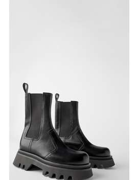 Track Sole Leather Ankle Boot Leather Shoes Shoes Woman by Zara