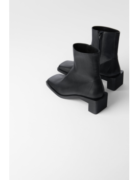 Square Toed High Heel Leather Ankle Boots Leather Shoes Shoes Woman by Zara
