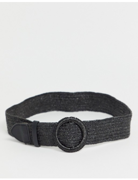 New Look Raffia Stretch Belt In Black by New Look