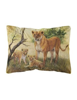 Siegrist Lion And Cubs By Daphne Baxter Fabric Indoor/Outdoor Throw Pillow by Winston Porter