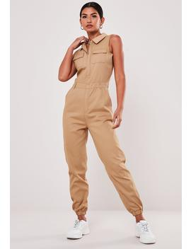 Stone Sleeveless Utility Jumpsuit by Missguided