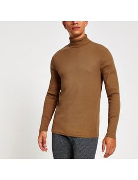 Brown Ribbed Roll Neck Long Sleeve T Shirt by River Island