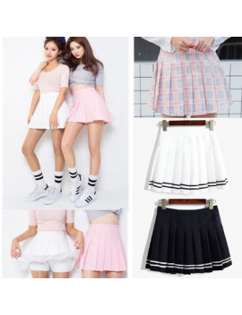Women Lady High Waist Plaid Plain Skater Flared Pleated Short Mini Skirt Shorts College Style by Ali Express.Com