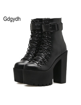Gdgydh Fashion Motorcycle Boots Women Leather Spring Autumn Metal Buckle High Heels Shoes Zipper Black Ankle Boots Woman Lacing by Ali Express.Com