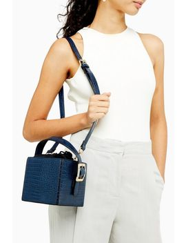 Gracie Blue Crocodile Box Bag by Topshop