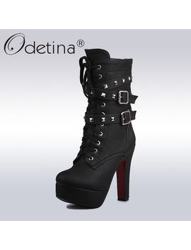Odetina 2019 Sexy Extreme High Heels Black Women Platform Motorcycle Ankle Boots Lace Up Rivets Punk Boots Buckle Straps Ladies by Ali Express.Com