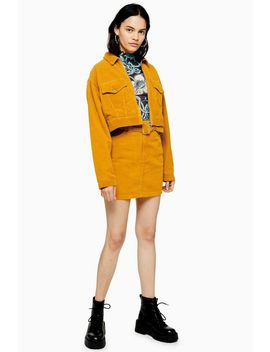 Mustard Corduroy Belted Skirt by Topshop