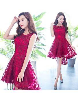 Sennyo   Sleeveless Lace Mini Prom Dress by Sennyo