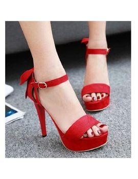 Freesia   Bow Ankle Strap Stiletto Platform Sandals by Freesia