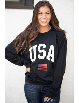 Usa Lightweight Sweatshirt  Black by Hazel & Olive