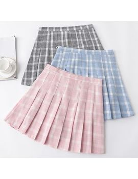Berryland   Plaid Mini A Line Pleated Skirt by Berryland