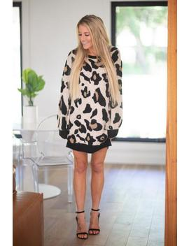 A Side Of Chic Leopard Sweater Dress by Hazel & Olive