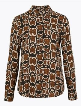 Animal Print Button Detail Shirt by Marks & Spencer