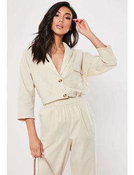 Tall Stone Linen Look Tortoiseshell Button Co Ord Shirt by Missguided