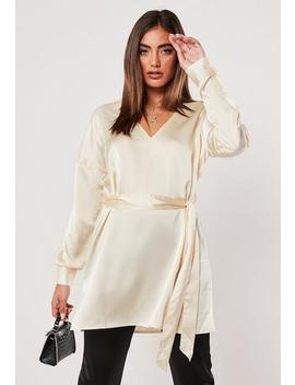Ivory V Neck Satin Long Blouse by Missguided