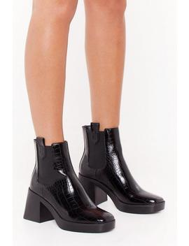 Square The Gossip Croc Faux Leather Boots by Nasty Gal