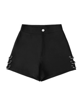Summer Black Split Shorts For Women Loose Rings Decoration Fashion Shorts Female by Ali Express.Com