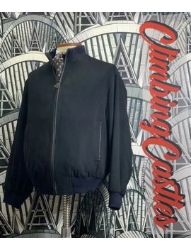 Carrol & Co Beverly Hills Wool Silk Blue Bomber Jacket Coat Mens M Made In Ital by Carrol & Co