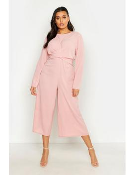 Plus Woven Front Cullote Jumpsuit by Boohoo