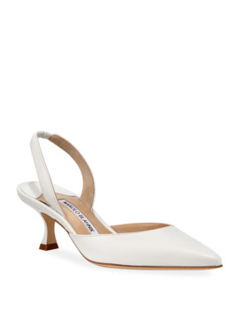 Carolyne Low Heel Leather Slingback Pumps by Manolo Blahnik