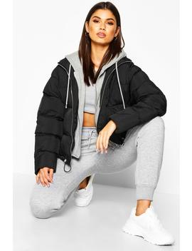 Jersey Hooded Padded Puffer by Boohoo