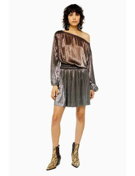 Metallic Plisse Mini Dress by Topshop