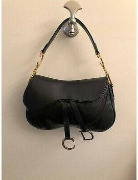 Christian Dior Black Leather Double Saddle  Bag by Christian Dior