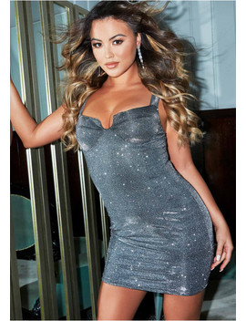 Layla Grey Glitter Cupped Mini Dress by Missy Empire